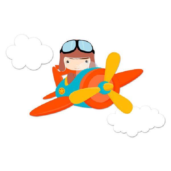 Stickers pour enfants: Avion dans les nuages