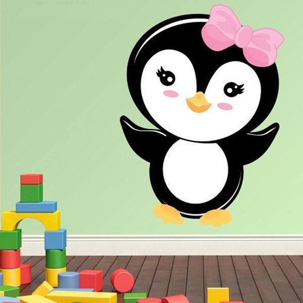 Stickers pour enfants: Penguin arc rose 1