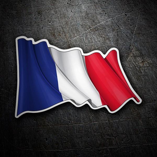 Autocollants: Drapeau de la France en agitant