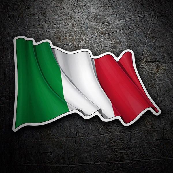 Autocollants: Drapeau Italien en agitant