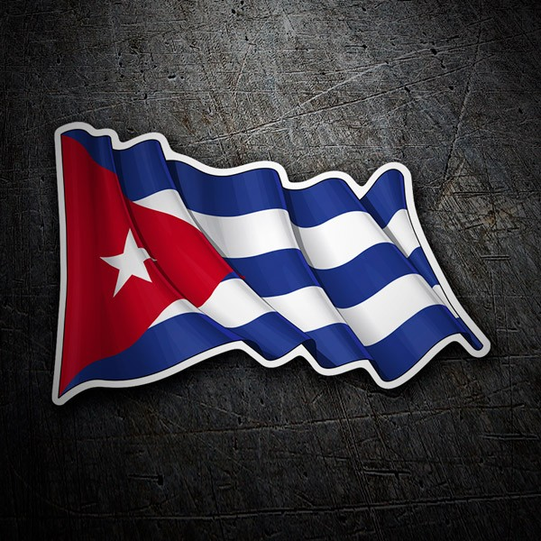 Autocollants: Drapeau de Cuba en agitant