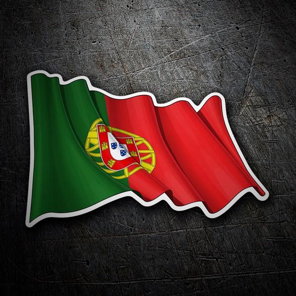 Autocollants: Drapeau du Portugal agitant