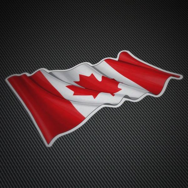 Autocollants: Drapeau du Canada agitant
