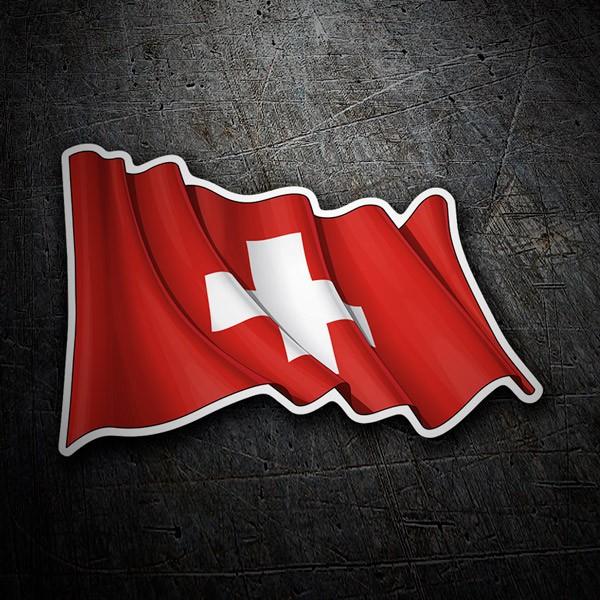 Autocollants: Drapeau de la Suisse en agitant