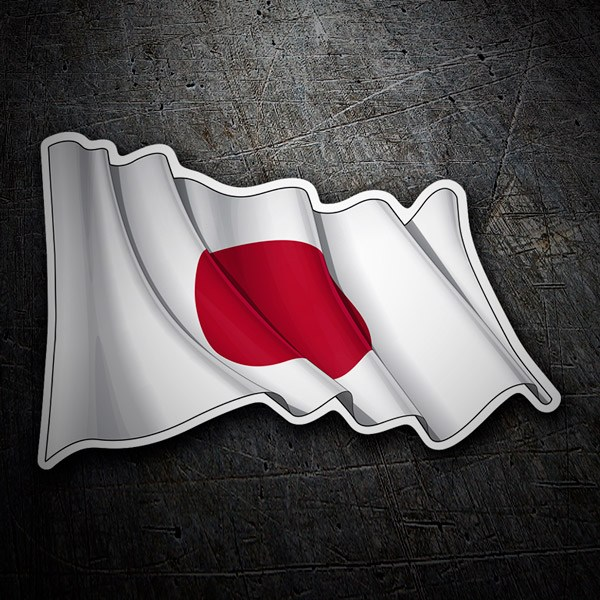Autocollants: Drapeau du Japon en agitant