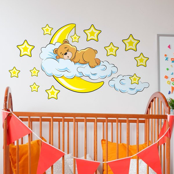 Stickers pour enfants: Ours de dans les nuages et la lune jaune