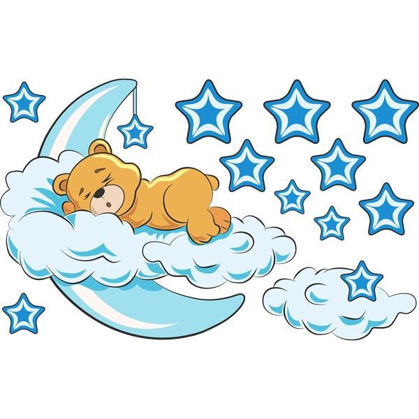 Stickers pour enfants: Ours dans les nuages et la lune bleue