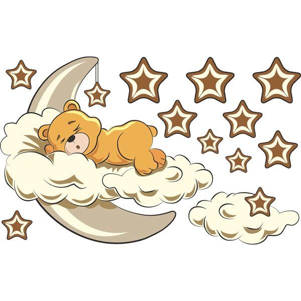 Stickers pour enfants: Ours dans les nuages et la lune neutre
