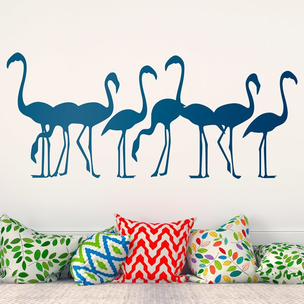 Stickers muraux: 8 Flamants Affluent