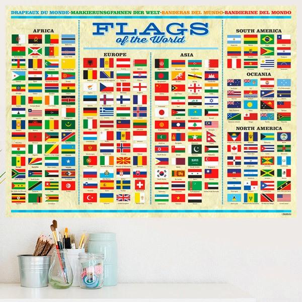 Stickers muraux: Drapeaux du monde