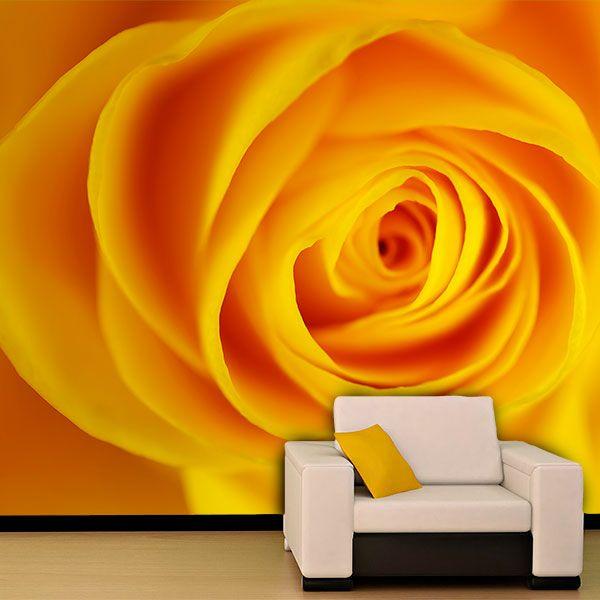 Papier peint vinyle: Jaune Rose