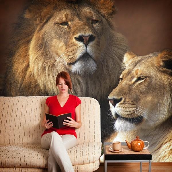 Papier peint vinyle: Lion et lionne