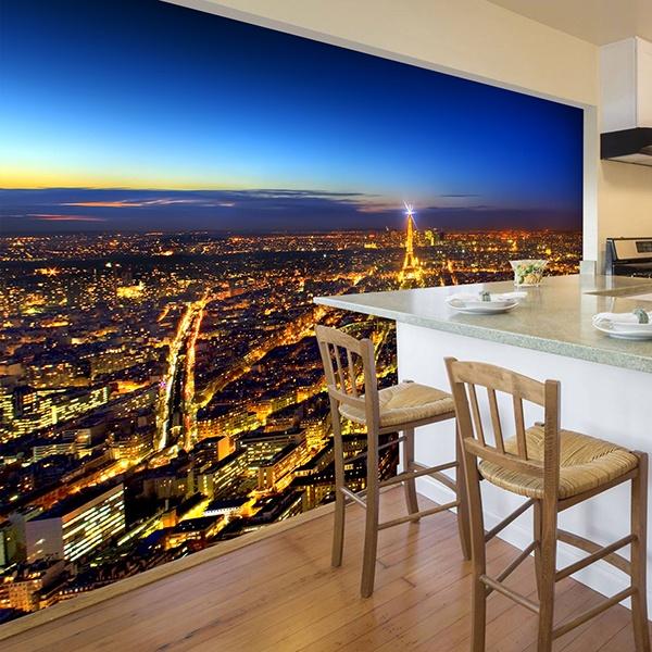 Papier peint vinyle: Paris éclairant la nuit