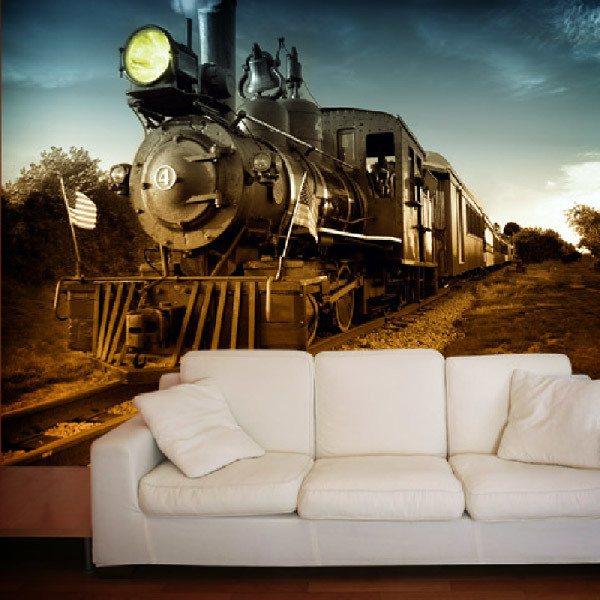 Papier peint vinyle: Vintage Locomotive