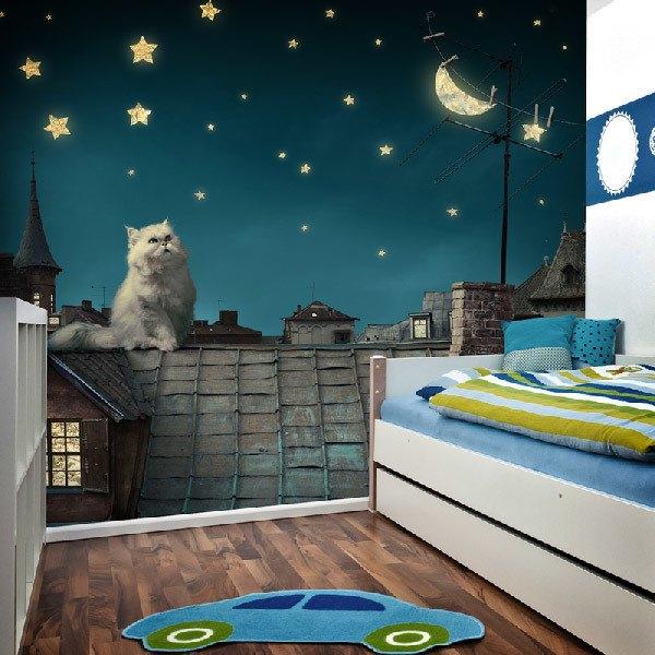 Papier peint vinyle: Gato en el tejado