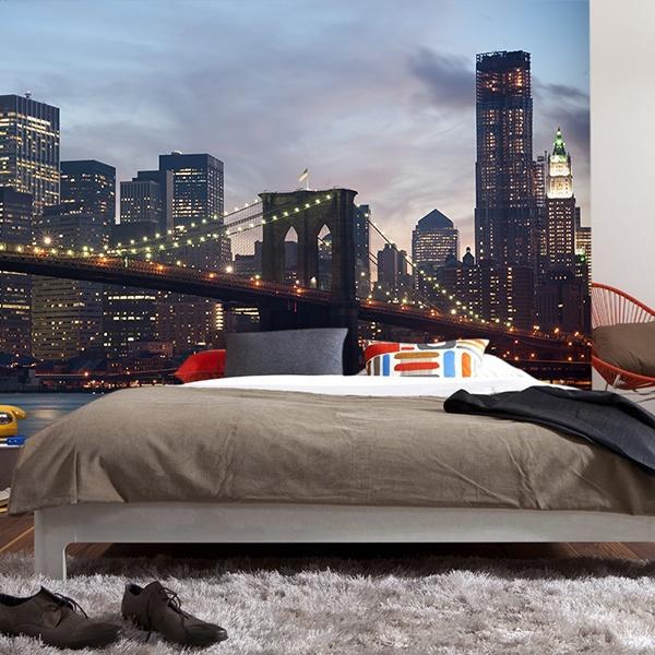 Papier peint vinyle: Brooklyn Bridge dans le brouillard