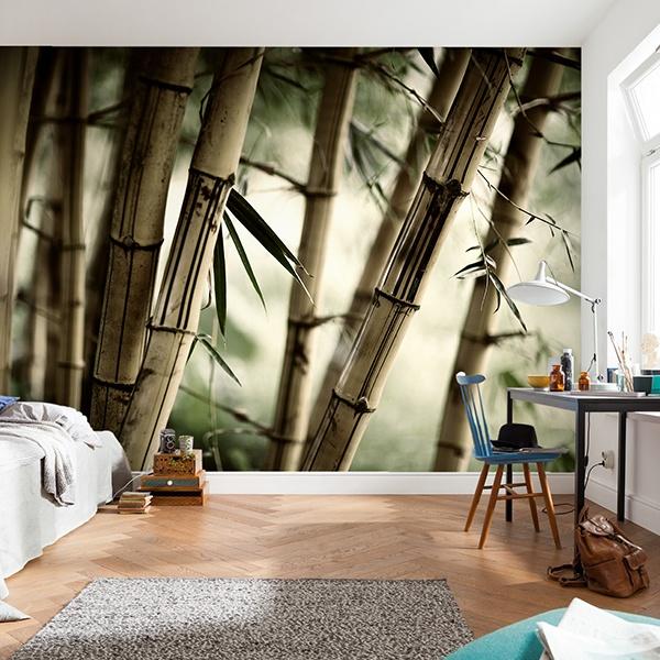 Papier peint vinyle: bambou Blanc