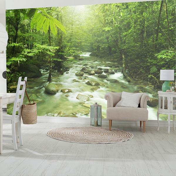 Papier peint vinyle: jungle rivière