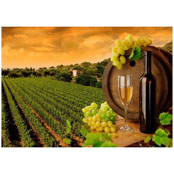Papier peint vinyle: Vignes et bouteilles