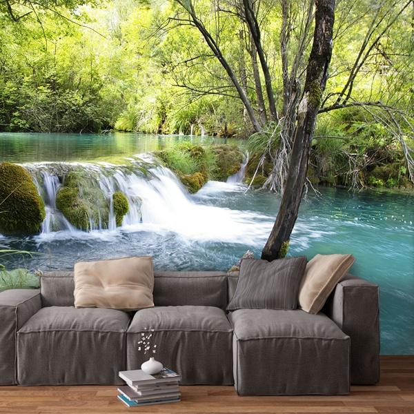 Papier peint vinyle: La végétation et de la rivière et la cascade