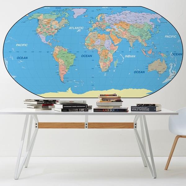 Papier peint vinyle: Carte du monde
