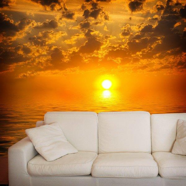 Papier peint vinyle: Coucher de soleil sur la mer