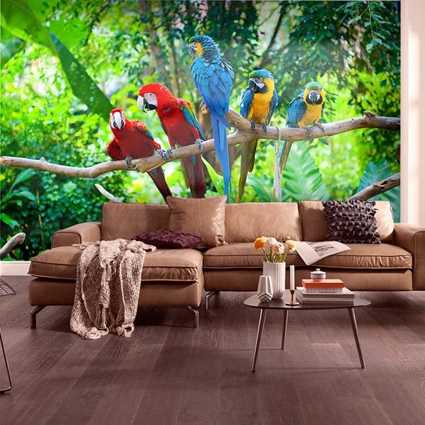 Papier peint vinyle: Cinq perroquets