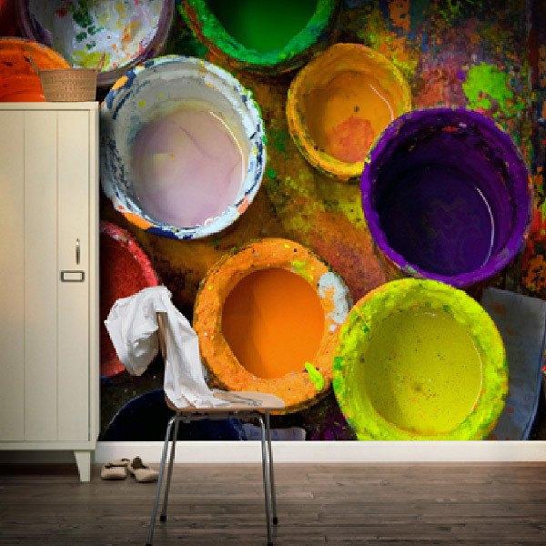 Papier peint vinyle: Pots de peinture