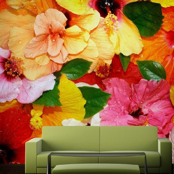 Papier peint vinyle: Les fleurs colorées