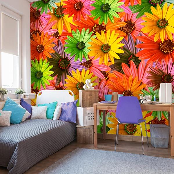 Papier peint vinyle: Fleurs Pop