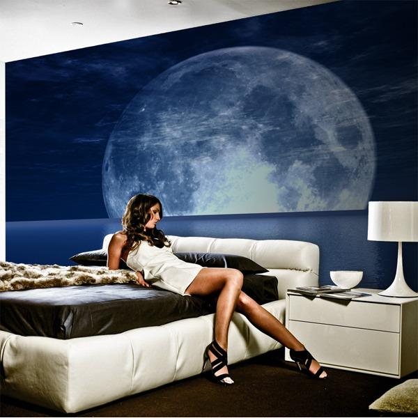 Papier peint vinyle: Lune et de la mer