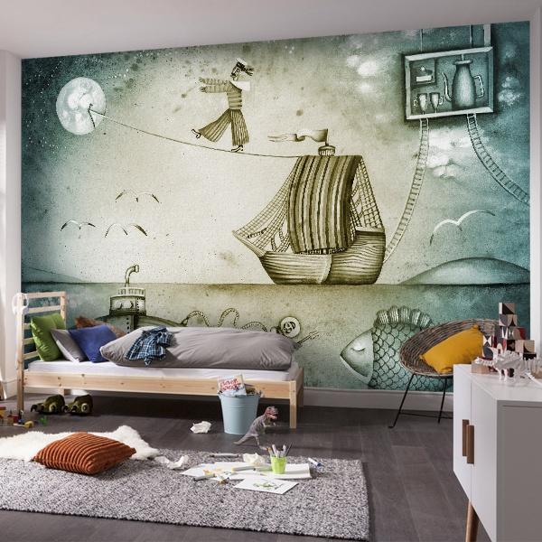 papier peint vinyle bateau. Black Bedroom Furniture Sets. Home Design Ideas