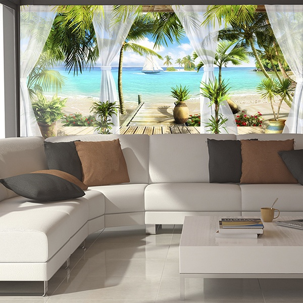 papier peint vinyle paradis en bord de mer. Black Bedroom Furniture Sets. Home Design Ideas