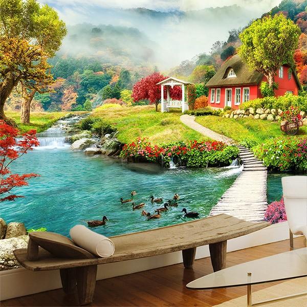 Papier peint vinyle: Cottage par la rivière 0
