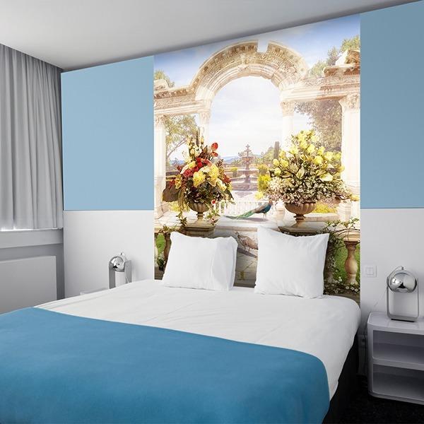 papier peint vinyle parc classique avec arc romain. Black Bedroom Furniture Sets. Home Design Ideas