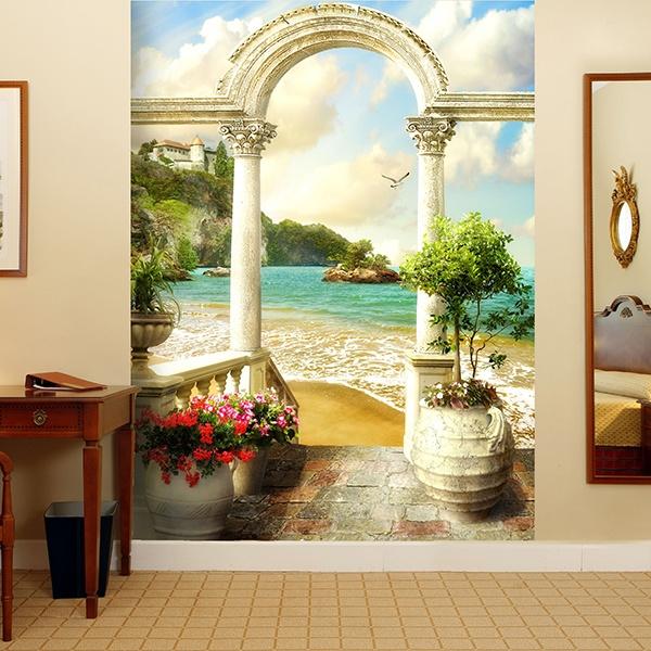 papier peint vinyle porche classique dans la plage. Black Bedroom Furniture Sets. Home Design Ideas