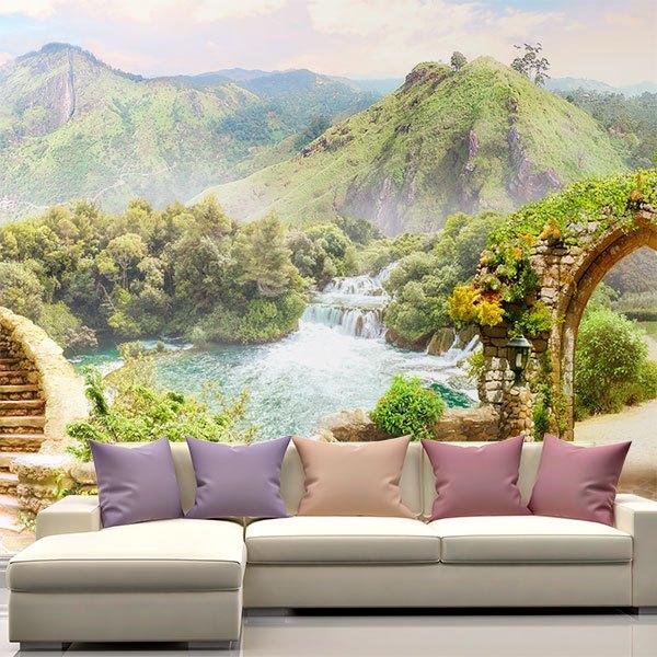 papier peint vinyl surplombant un paradis de montagne. Black Bedroom Furniture Sets. Home Design Ideas