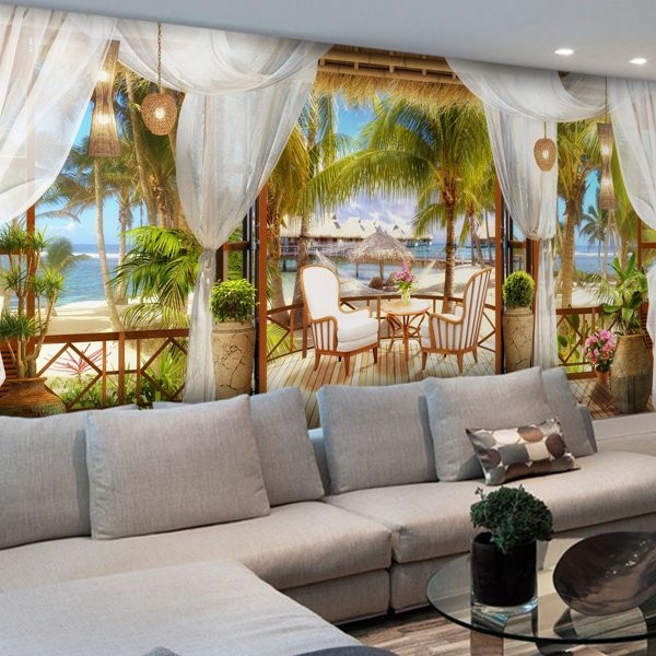 Papier peint vinyle: Cabane des Caraïbes