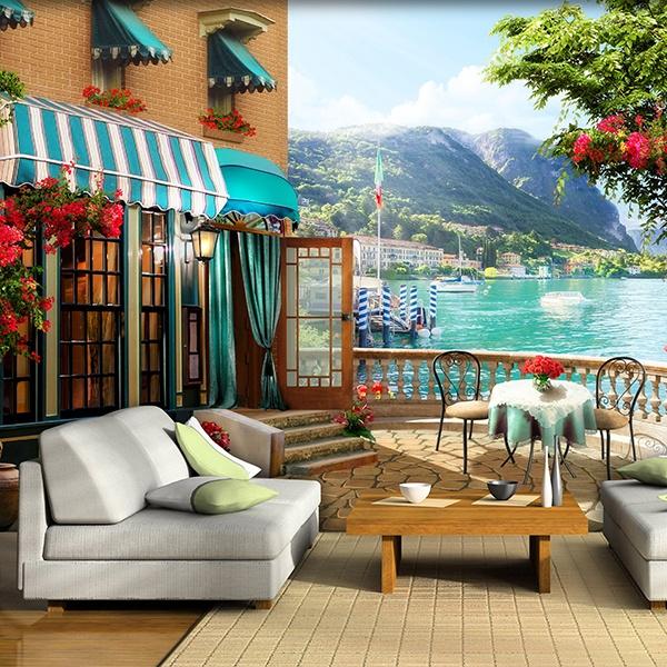 Papier peint vinyle: Terrasse au lac 2