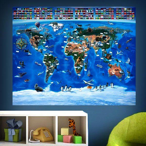 Papier peint vinyle: Carte mondiale des drapeaux des enfants