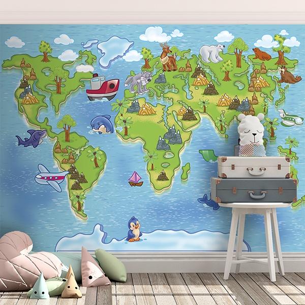 Papier peint vinyle: Carte du monde pour enfants 3