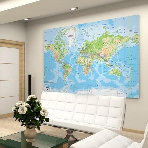 Papier peint vinyle: Carte de Monde 1