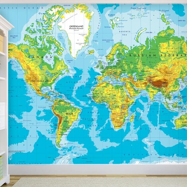 Papier peint vinyle: Carte de monde 2