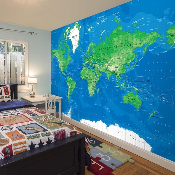Papier peint vinyle: Carte de Monde 3