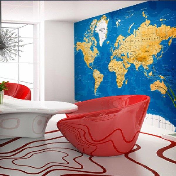 Papier peint vinyle: Carte de Monde 4