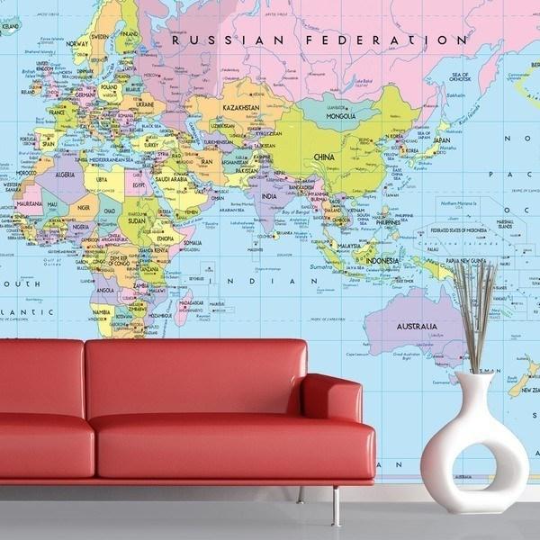 Papier peint vinyle: Carte du Monde 1