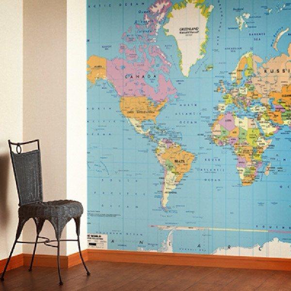 Papier peint vinyle: Carte du Monde Politique 2