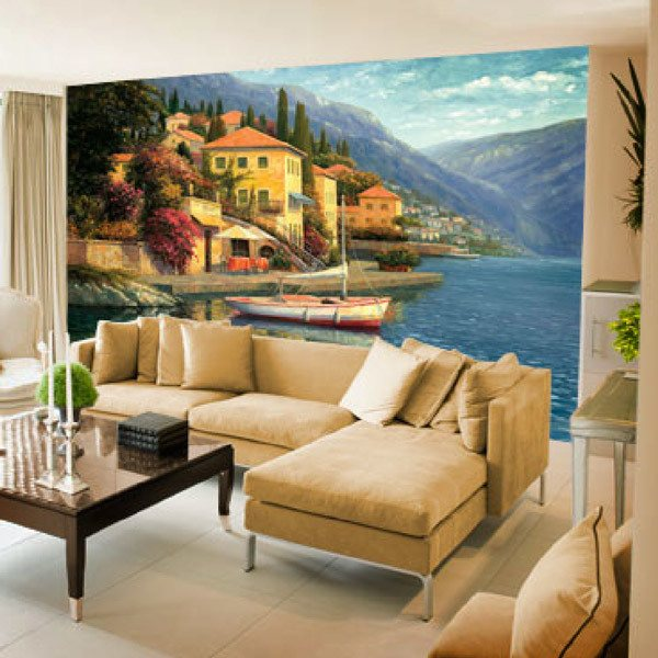 Papier peint vinyle: Lake Como Blossom (Haixia Liu)