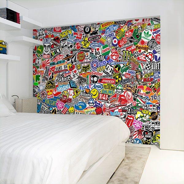 Papier peint vinyle: StickerBomb mural