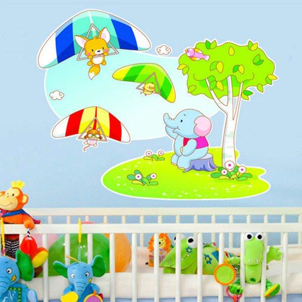 Stickers pour enfants: Deltaplane animaux